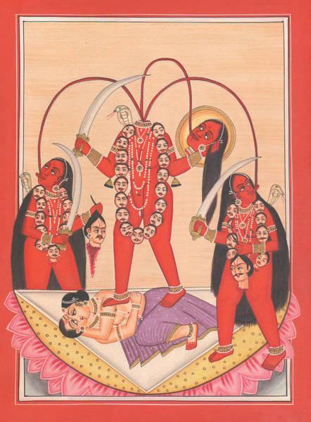 Wall Art - Drawing - Chhinnamasta Kali Kalika Tantric Yogi Kundalini Meditation India Painting Artwork India by A K Mundhra