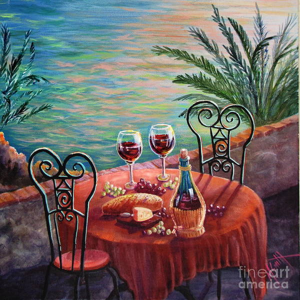 Bread And Wine Painting - Chianti Time by Marilyn Smith