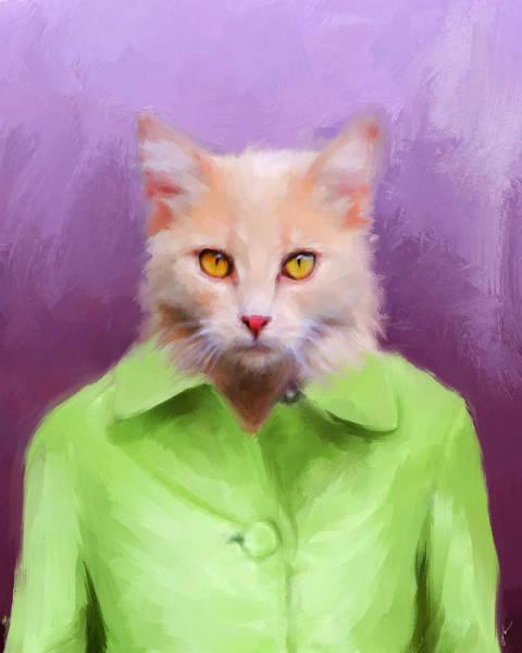 Painting - Chic Orange Kitty Cat by Jai Johnson