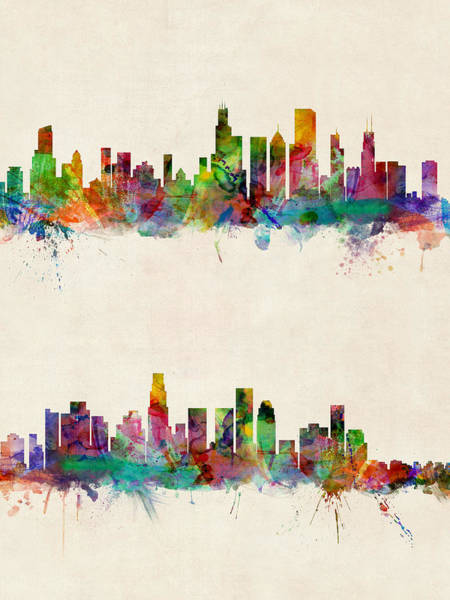 Chicago Digital Art - Chicago And Los Angeles Skylines by Michael Tompsett