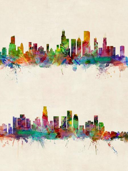 California Digital Art - Chicago And Los Angeles Skylines by Michael Tompsett