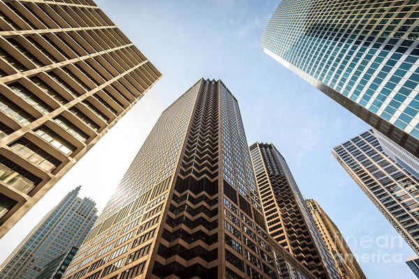 Big Five Photograph - Chicago Architecture City Skyscrapers Upward View by Paul Velgos