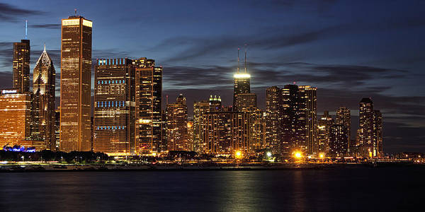 Chicago Skyline Art Photograph - Chicago At Night by Andrew Soundarajan