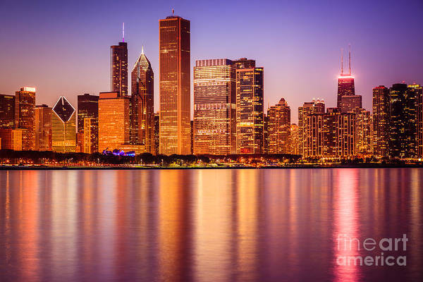 Chicago At Night Downtown City Lakefront Art Print