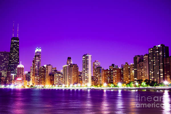 Chicago At Night With Purple Sky Art Print