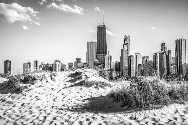 Chicago Beach And Skyline Black And White Photo Art Print