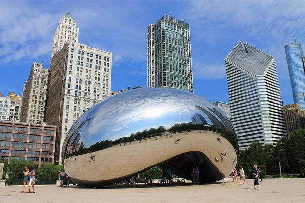 Photograph - Chicago Bean And Skyline by Frank Romeo