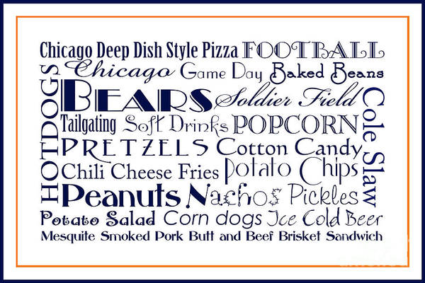 Digital Art - Chicago Bears Game Day Food 3 by Andee Design
