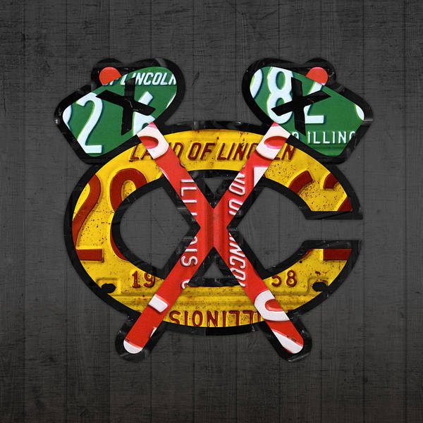 Wall Art - Mixed Media - Chicago Blackhawks Hockey Team Retro Logo Vintage Recycled Illinois License Plate Art by Design Turnpike