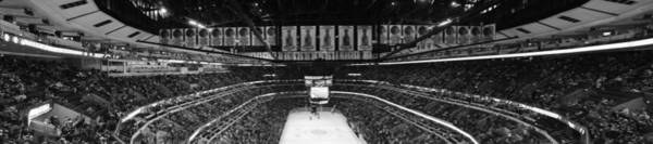 Wall Art - Photograph - Chicago Blackhawks United Center Panorama Bw by Thomas Woolworth