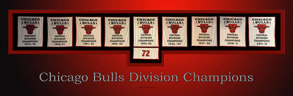 Doona Mixed Media - Chicago Bulls Division Champions Banners by Thomas Woolworth
