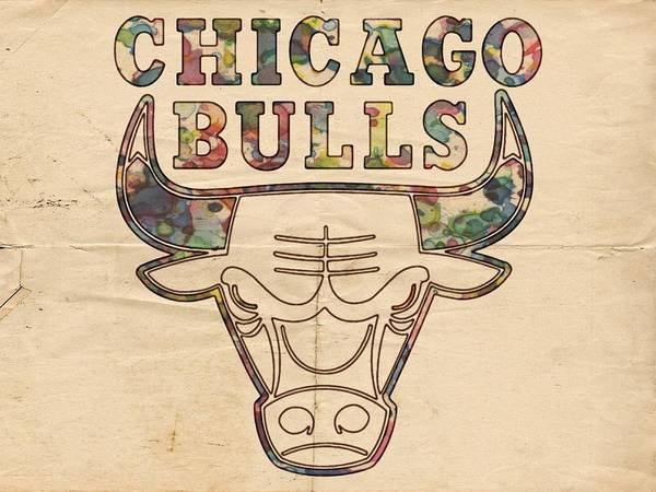 Vintage Chicago Painting - Chicago Bulls Logo Vintage by Florian Rodarte