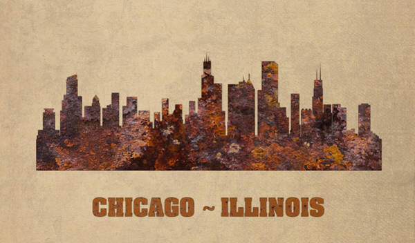 Wall Art - Mixed Media - Chicago City Skyline Rusty Metal Shape On Canvas by Design Turnpike