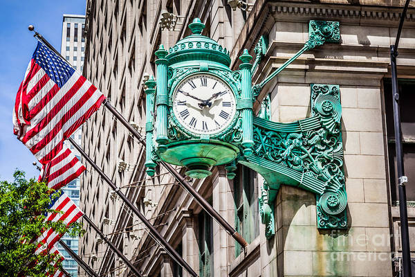 Editorial Photograph - Chicago Clock On Macy's Marshall Field's Building by Paul Velgos