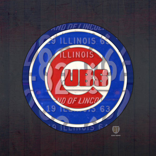 Recycling Mixed Media - Chicago Cubs Baseball Team Retro Vintage Logo License Plate Art by Design Turnpike