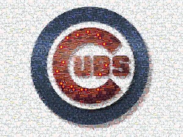 Sears Tower Photograph - Chicago Cubs Mosaic by David Bearden