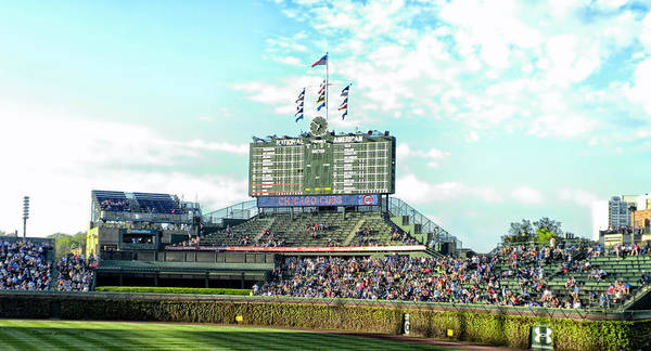 Jon Lester Photograph - Chicago Cubs Scoreboard 01 by Thomas Woolworth