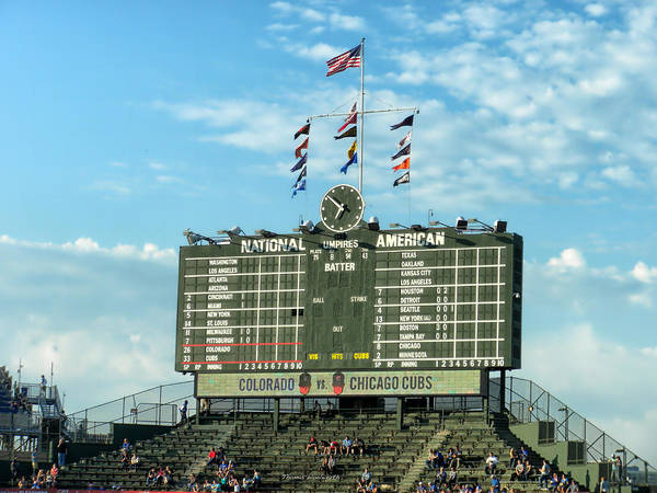 Jon Lester Photograph - Chicago Cubs Scoreboard 02 by Thomas Woolworth