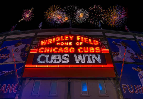 Wall Art - Photograph - Chicago Cubs Win Fireworks Night by Steve Gadomski