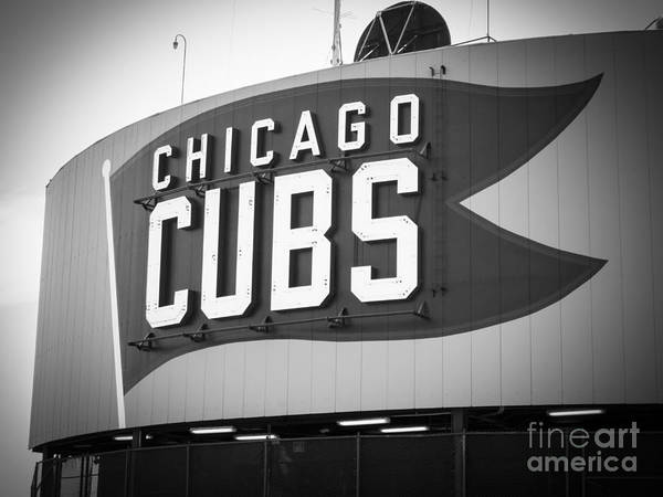 Sears Tower Photograph - Chicago Cubs Wrigley Field Sign Black And White Picture by Paul Velgos