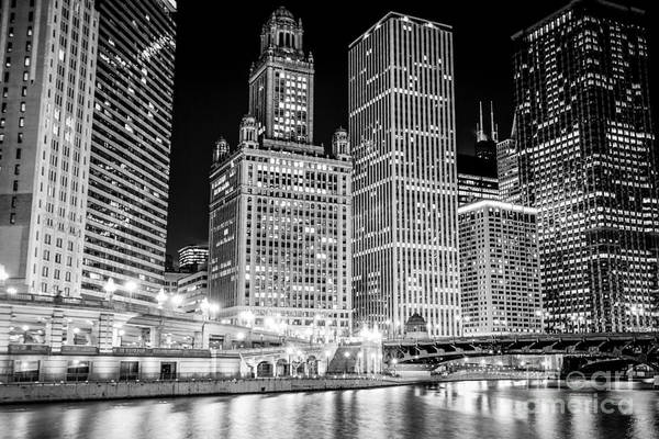 Wabash Avenue Wall Art - Photograph - Chicago Downtown At Night Black And White Picture by Paul Velgos