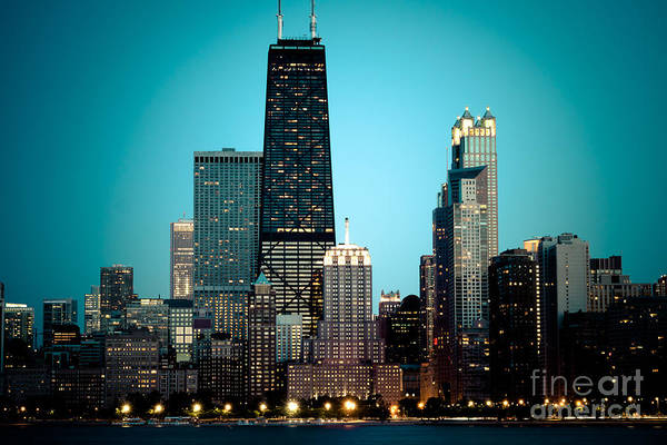 Sears Tower Photograph - Chicago Downtown At Night With Hancock Building by Paul Velgos