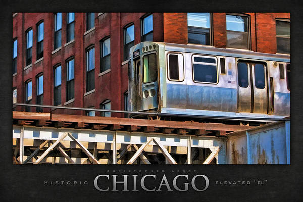Trains Painting - Chicago El And Warehouse Poster by Christopher Arndt