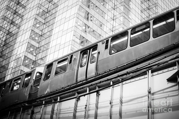 Commuter Rail Wall Art - Photograph - Chicago Elevated El Train In Black And White by Paul Velgos