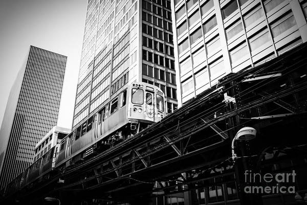 Commuter Rail Wall Art - Photograph - Chicago Elevated L Train In Black And White by Paul Velgos
