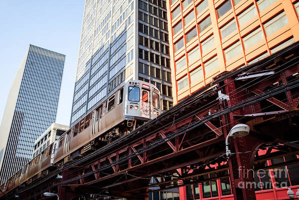 Commuter Rail Wall Art - Photograph - Chicago Elevated L Train With Downtown Buildings by Paul Velgos