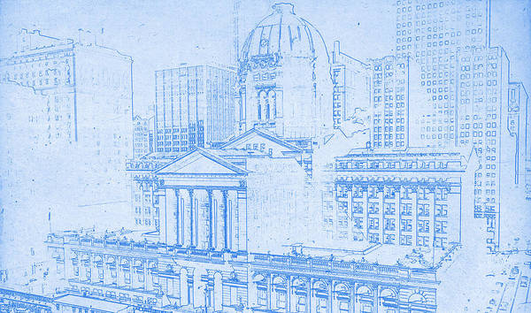 Courting Digital Art - Chicago Federal Court 1961 Blueprint by MotionAge Designs
