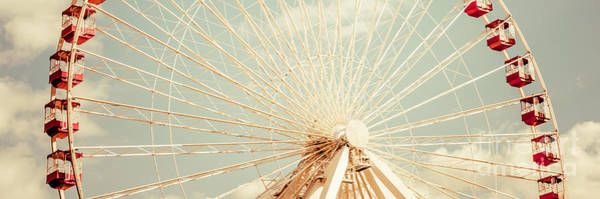 Wall Art - Photograph - Chicago Ferris Wheel Retro Panorama Photo by Paul Velgos