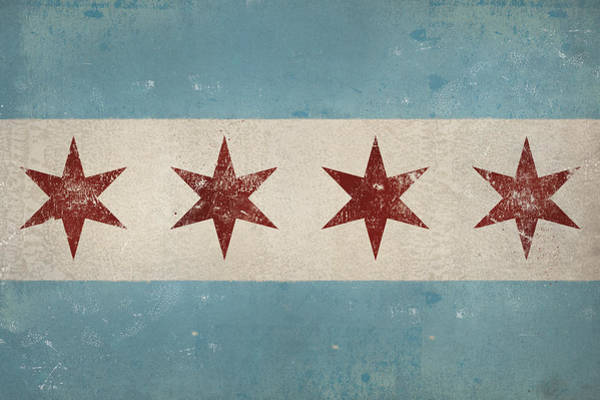 Wall Art - Painting - Chicago Flag by Ryan Fowler