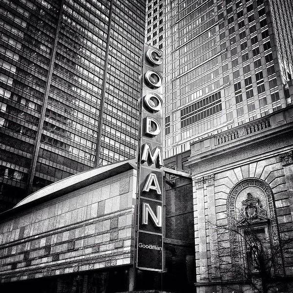 Building Wall Art - Photograph - Chicago Goodman Theatre Sign Photo by Paul Velgos