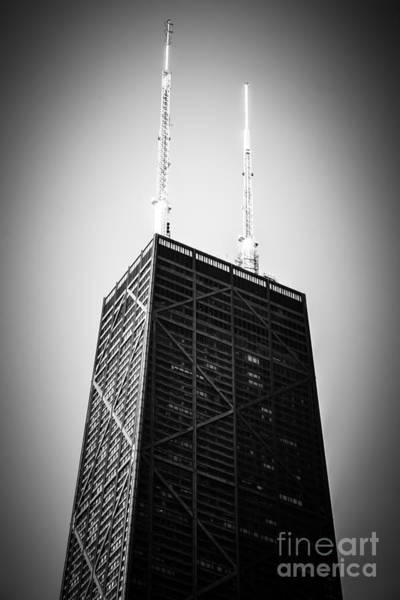 Chicago Hancock Building In Black And White Art Print