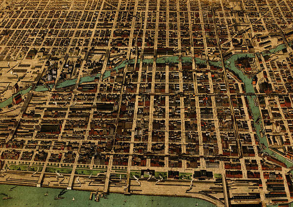 Wall Art - Mixed Media - Chicago Illinois Vintage Map Business District 1898 Birds Eye View Illustration On Parchment  by Design Turnpike