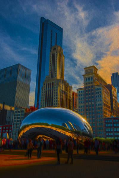 Photograph - Chicago Illinois Windy City Bean Digital Paint by David Haskett II