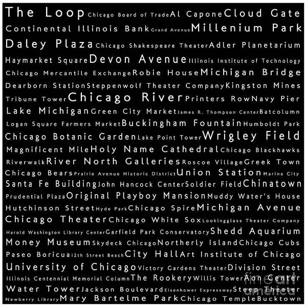 Chicago River Digital Art - Chicago In Words Black by Sabine Jacobs