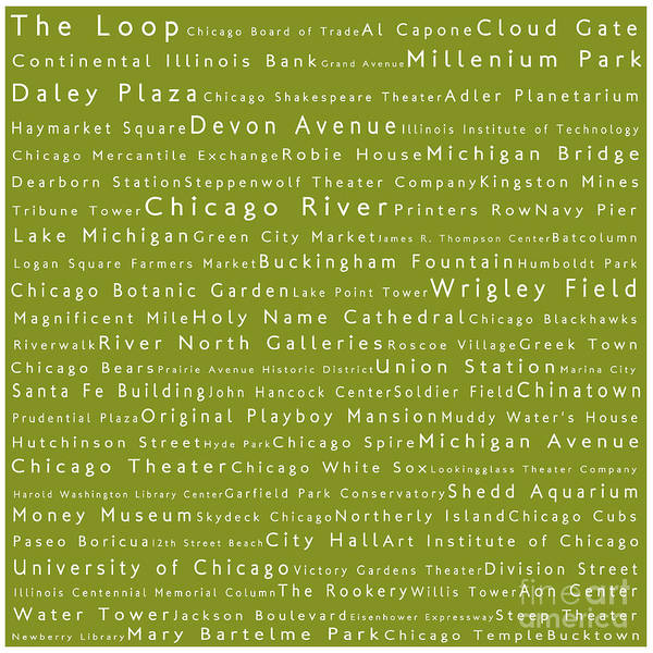 Chicago River Digital Art - Chicago In Words Olive by Sabine Jacobs