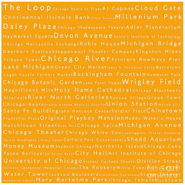 Chicago River Digital Art - Chicago In Words Orange by Sabine Jacobs