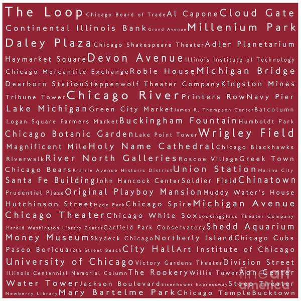 Chicago River Digital Art - Chicago In Words Red by Sabine Jacobs
