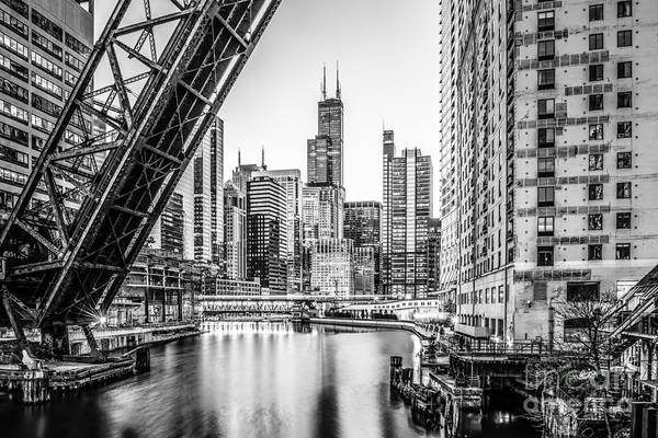 Wall Art - Photograph - Chicago Kinzie Railroad Bridge Black And White Photo by Paul Velgos