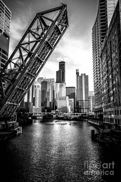Sears Tower Photograph - Chicago Kinzie Street Bridge Black And White Picture by Paul Velgos