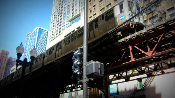 Photograph - Chicago L Track Train 2 by Anita Burgermeister