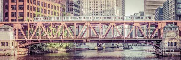 Wall Art - Photograph - Chicago Lake Street Bridge L Train Retro Picture by Paul Velgos