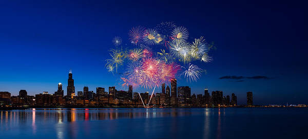 Fourth Photograph - Chicago Lakefront Fireworks by Steve Gadomski