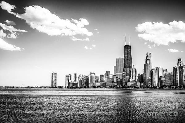 Hancock Tower Photograph - Chicago Lakefront Skyline Black And White Picture by Paul Velgos