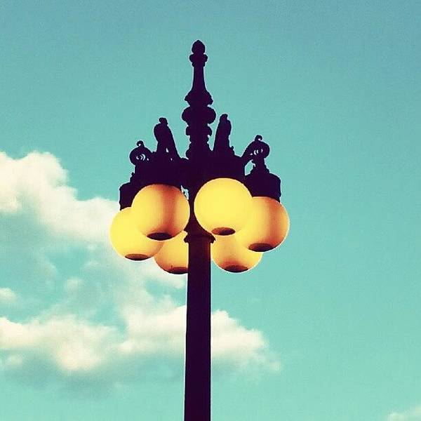 Blue Sky Photograph - Chicago Lamp Post And Blue Skies by Jill Tuinier