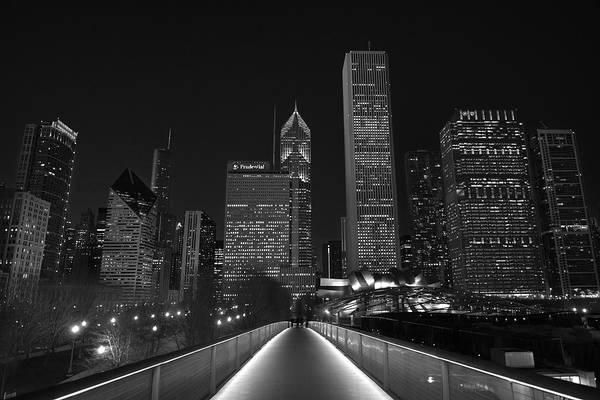 Wall Art - Photograph - Chicago Lights B W by Steve Gadomski