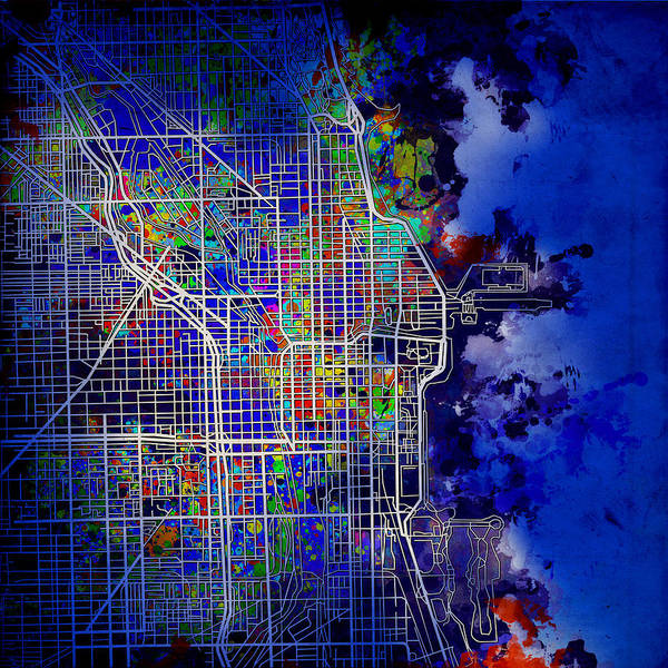 Vintage Chicago Painting - Chicago Map Blue Version by Bekim Art
